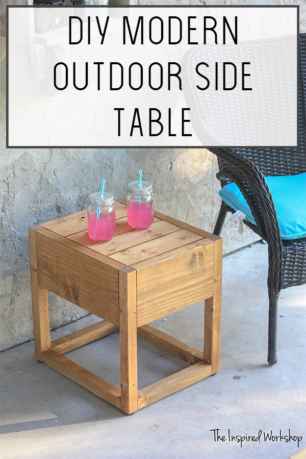 DIY Modern Outdoor Side Table - Build this simple modern outdoor side table in a few minutes today to spruce up your porch or patio! The perfect beginner woodworking project since it has no angles or complex joinery! A few boards and a little time is all it takes to transform your favorite outdoor space in time for spring and summer! #patioideas #prochideas #outdoorideas #diyoutdoortable
