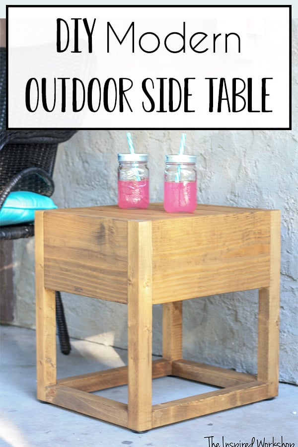 DIY Modern Outdoor Side Table - This cute little modern outdoor side table is a quick and easy DIY project to get your patio or porch in shape just in time for spring and summer! I love the teak color and modern design! It is truly a DIY project anyone can do and happily use it in your outdoor decor! #patioideas #porchideas #outdoorfurniture #diyfurniture