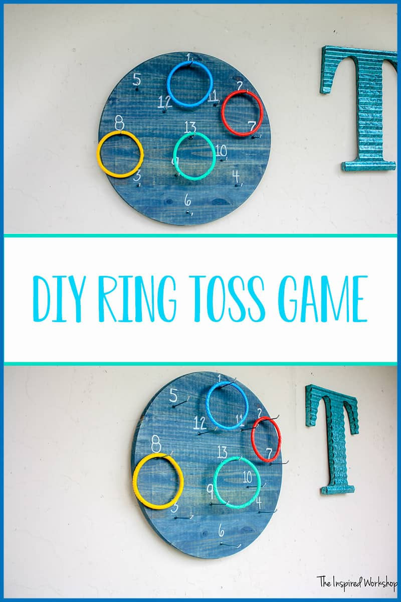 DIY Ring Toss Game - This game is fun for the whole family! It's a twist on the classic ring toss game only it's played on the wall instead of the ground! Perfect for all ages young to old, so many ways to play you'll never tire of playing! Build one today and enjoy with family and friends! #outdoorgames #patiogames #backyardgames #summerfun