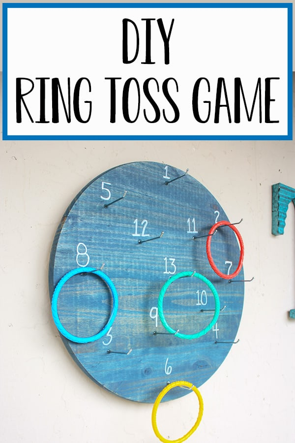 DIY Ring Toss Game - This twist on the classic ring toss game is sure to be a hit with all ages! Safer than darts for the kiddos but yet just as fun! Many ways to play and simple to create! Hours of outdoor fun for the entire family and friends! #patiogames #outdoorgames #ringtoss