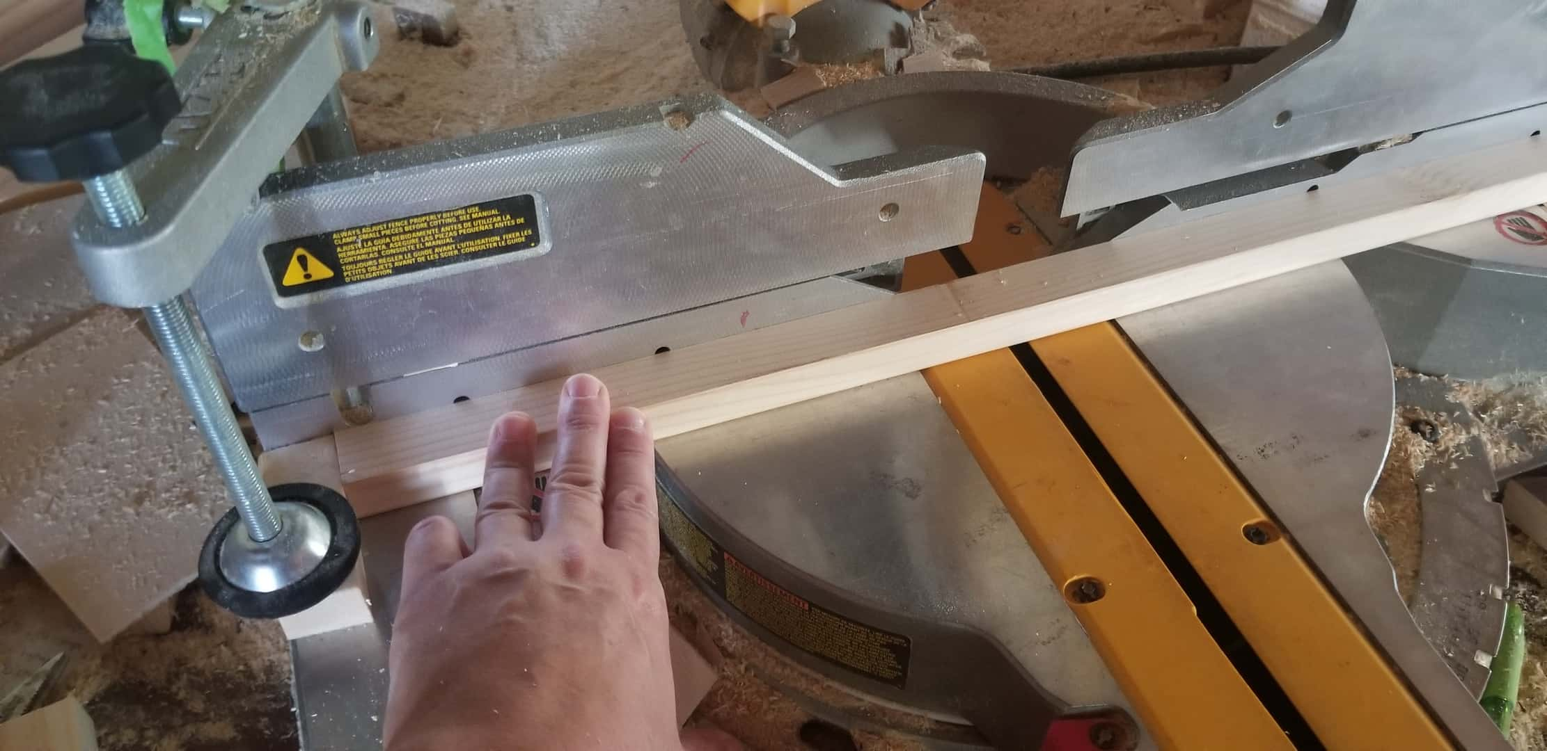Using a stop block on a miter saw