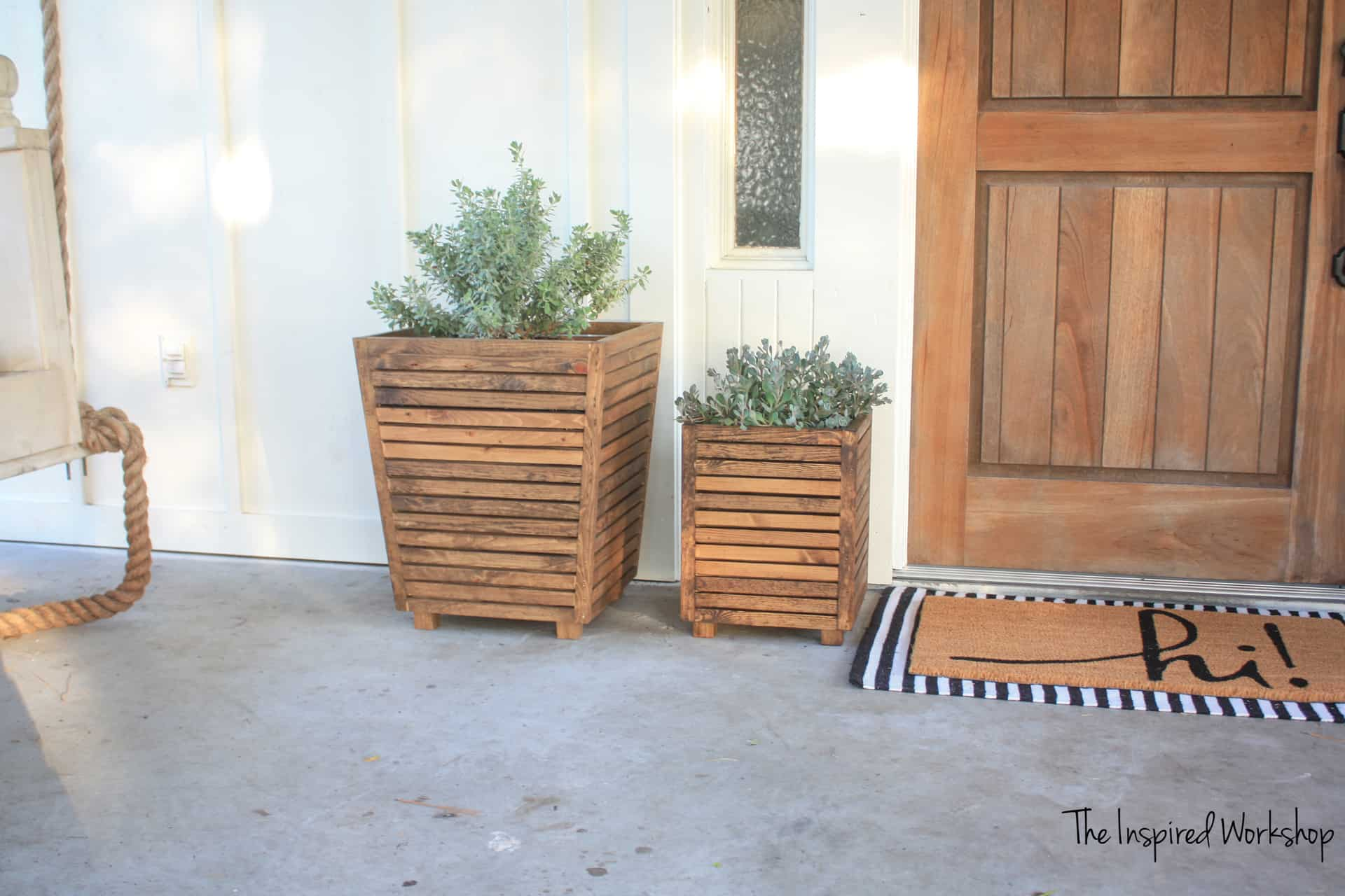 Front Porch Decor - Beautiful wooden planters by the front door!