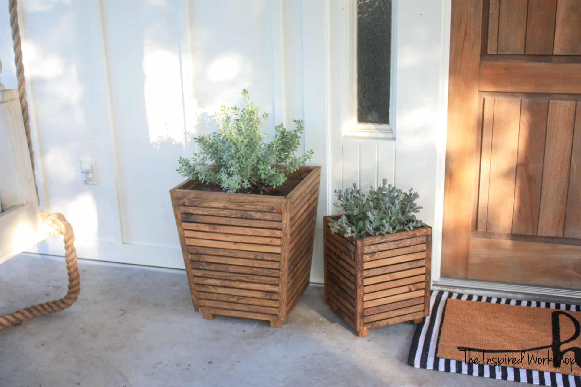 DIY wooden planter for front porch or patio