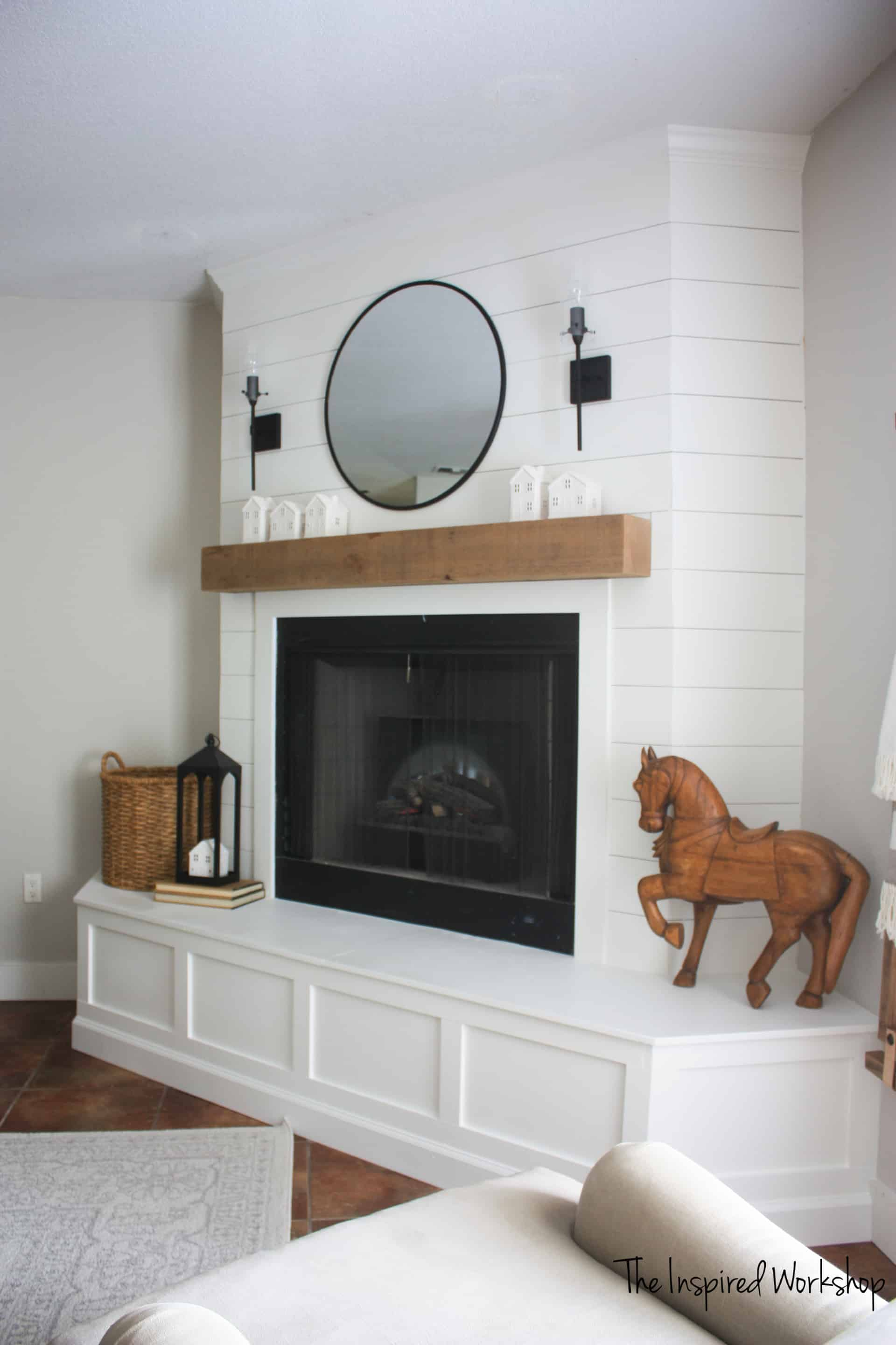 DIY Fireplace Makeover shown from the side