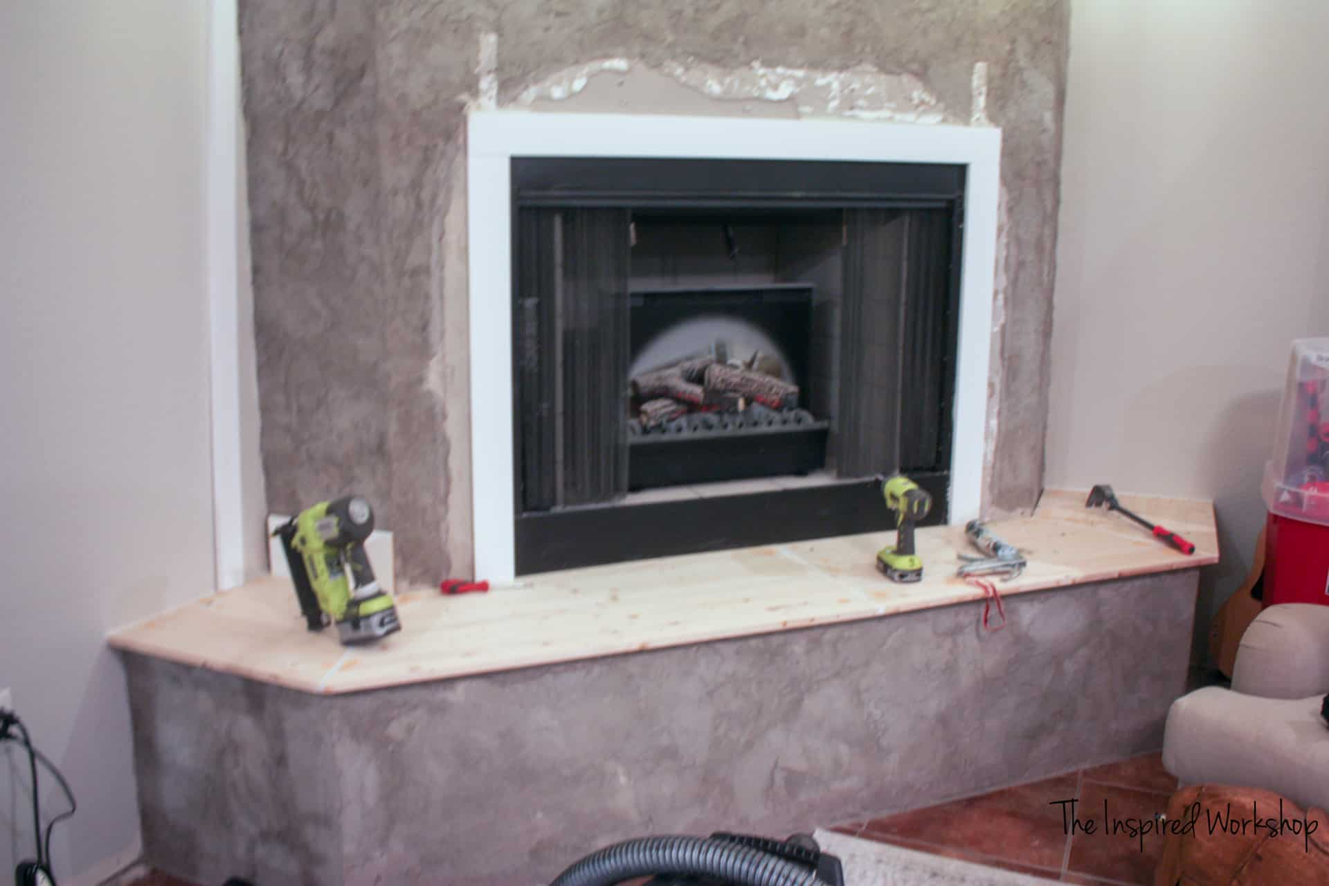 fireplace makeover - covering the hearth
