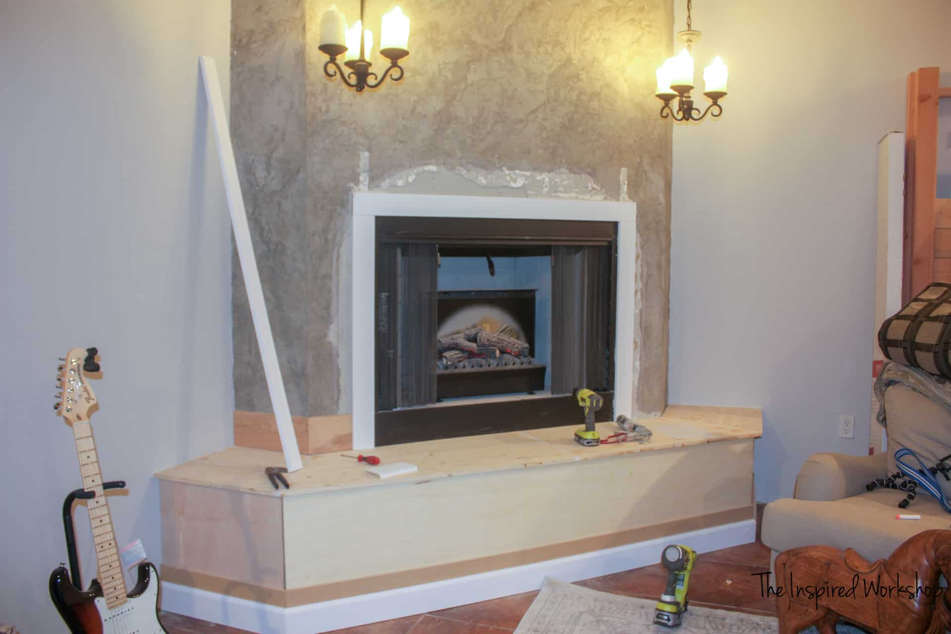 Fireplace Makeover - adding basebaords