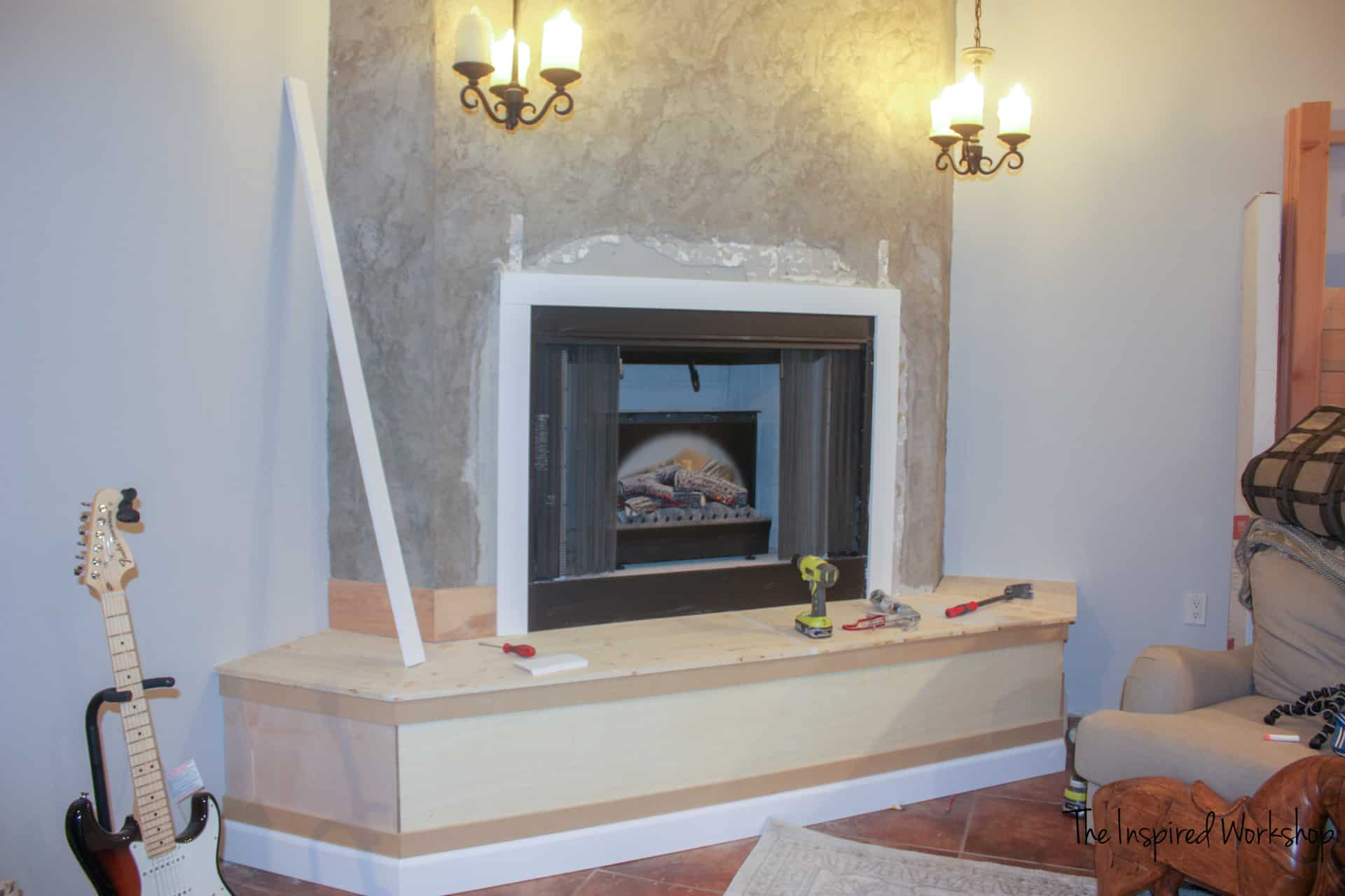 Fireplace Makeover - adding baseboards