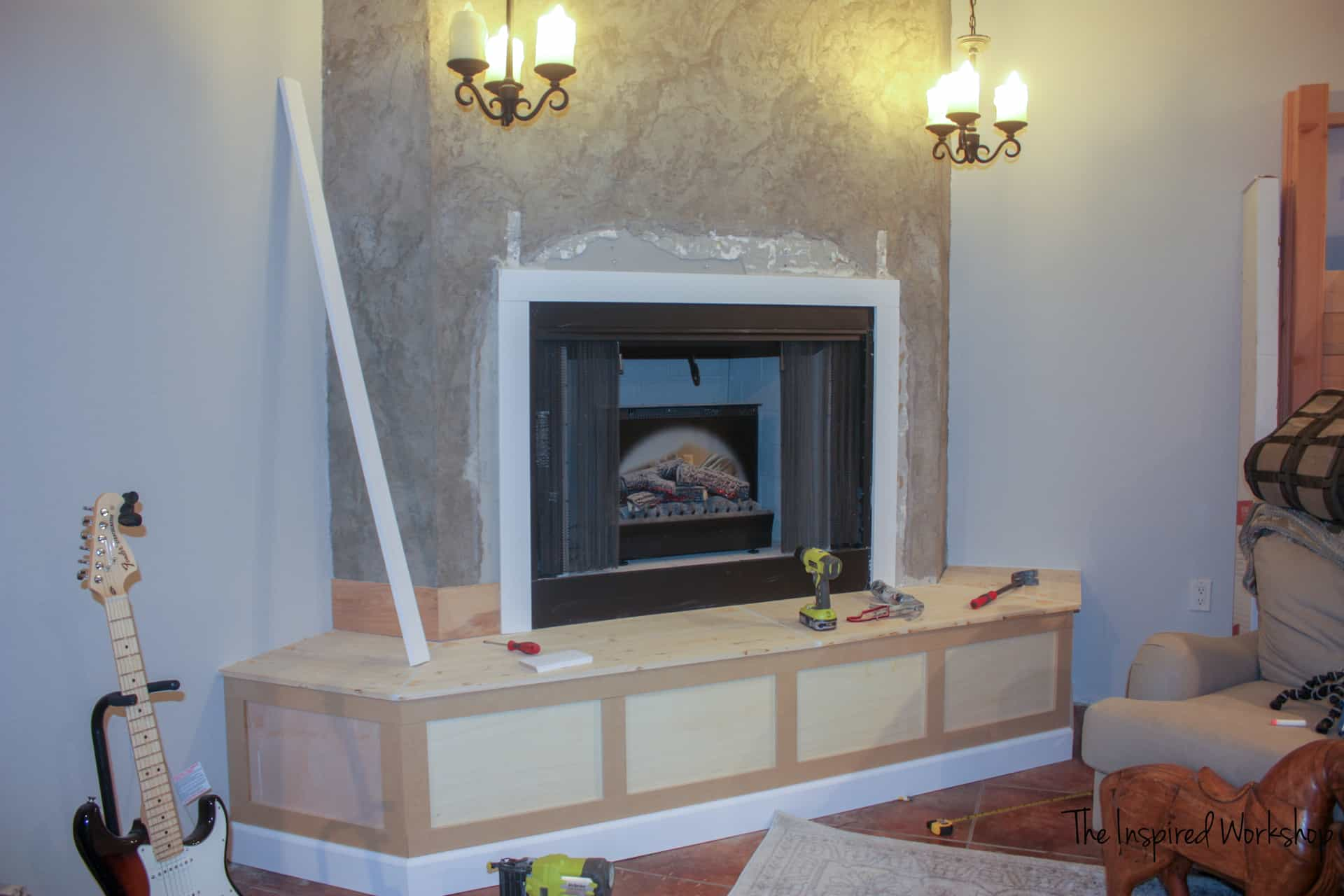 DIY Fireplace Makeover - Adding MDF to make squares out of molding