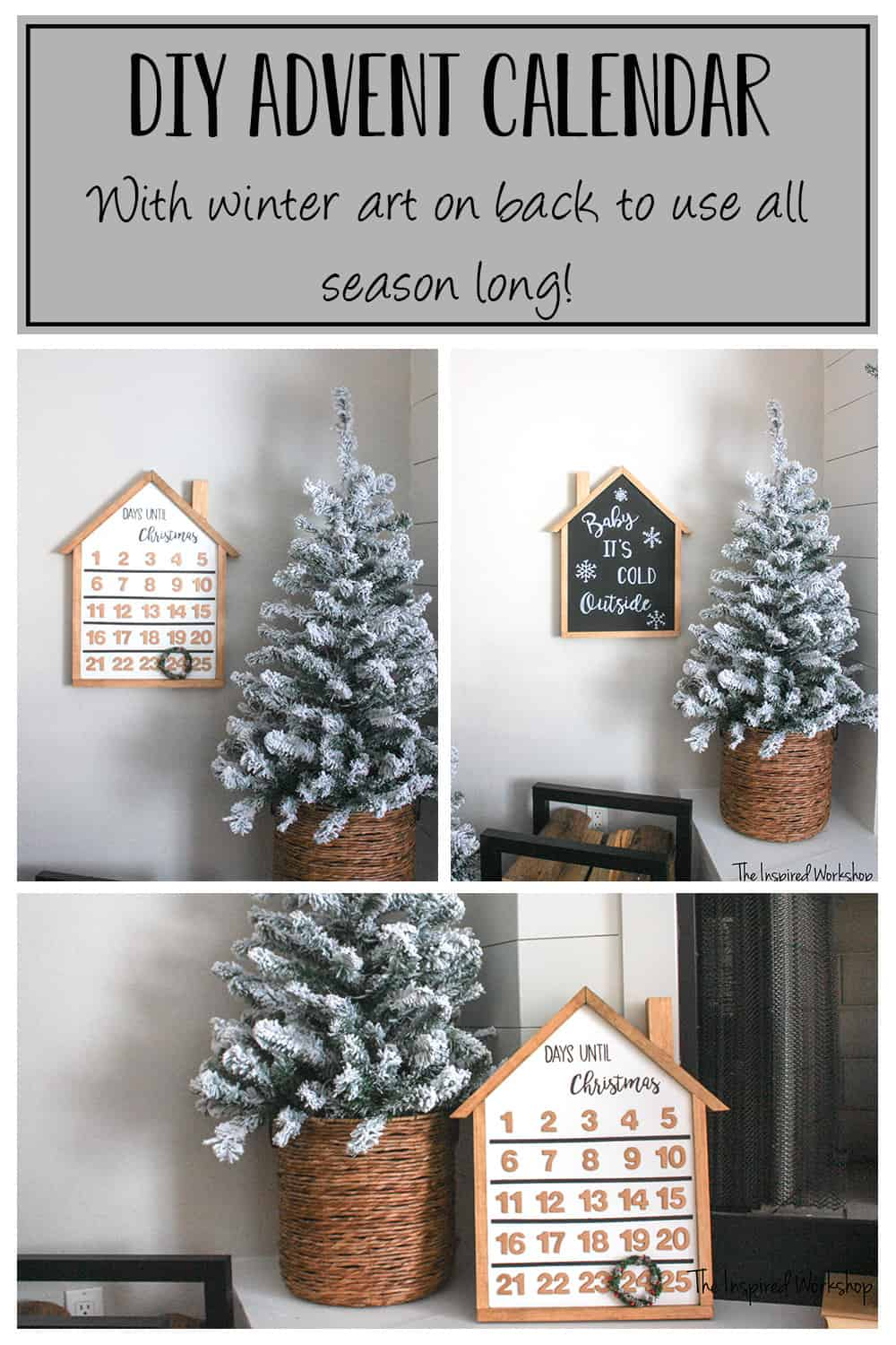DIY Advent Calendar - With winter artwork on back to use all season long!