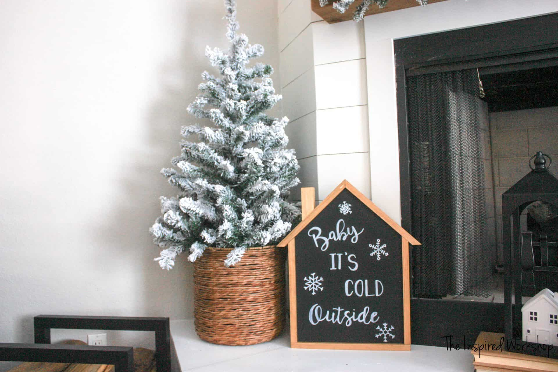 DIY Advent Calendar with Baby It's Cold Outside sign on the back