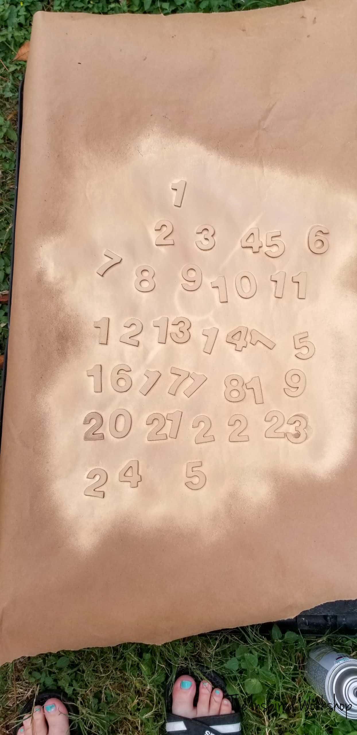 Spray Painted Numbers for advent calendar