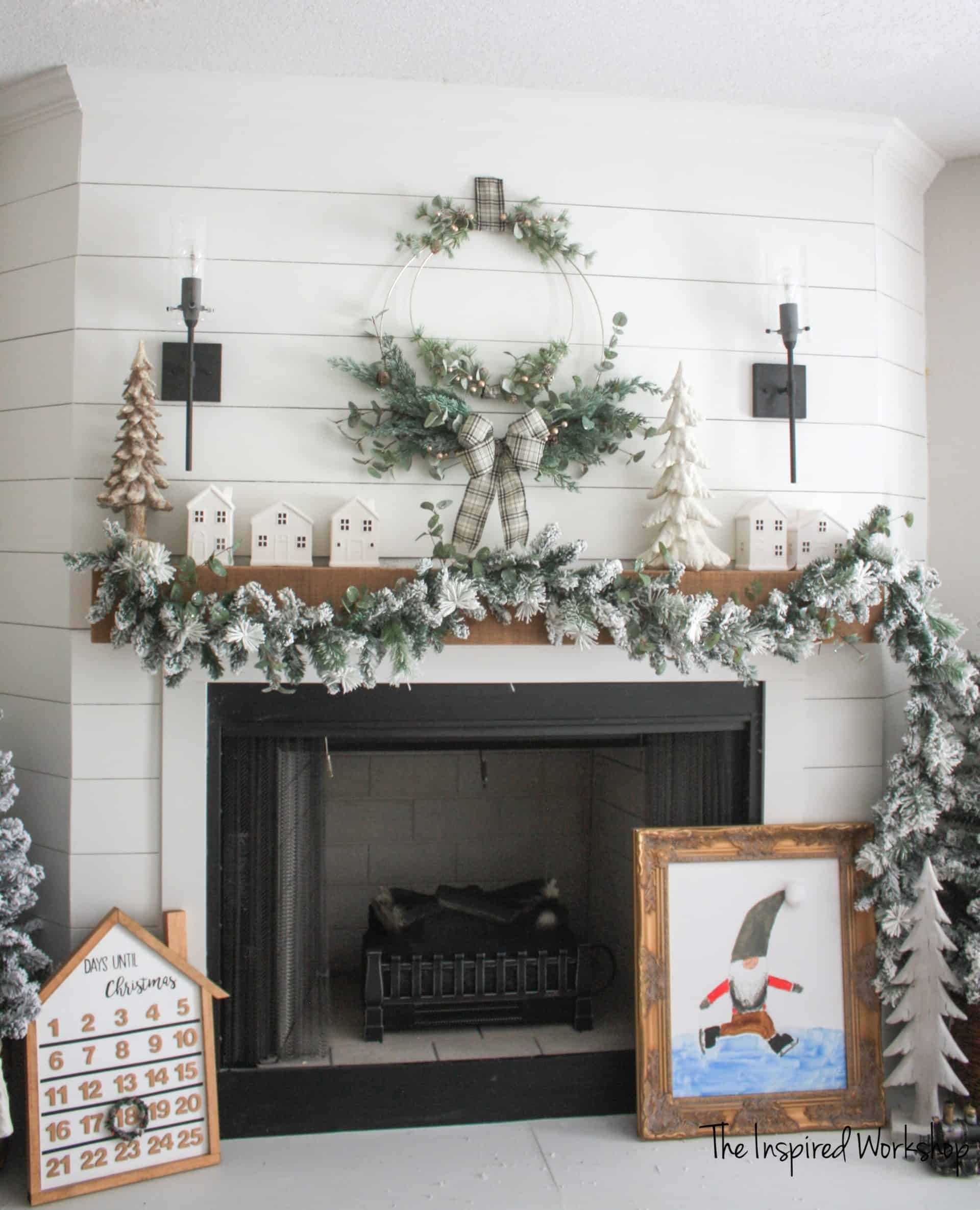DIY WInter Christmas Wreath above mantel