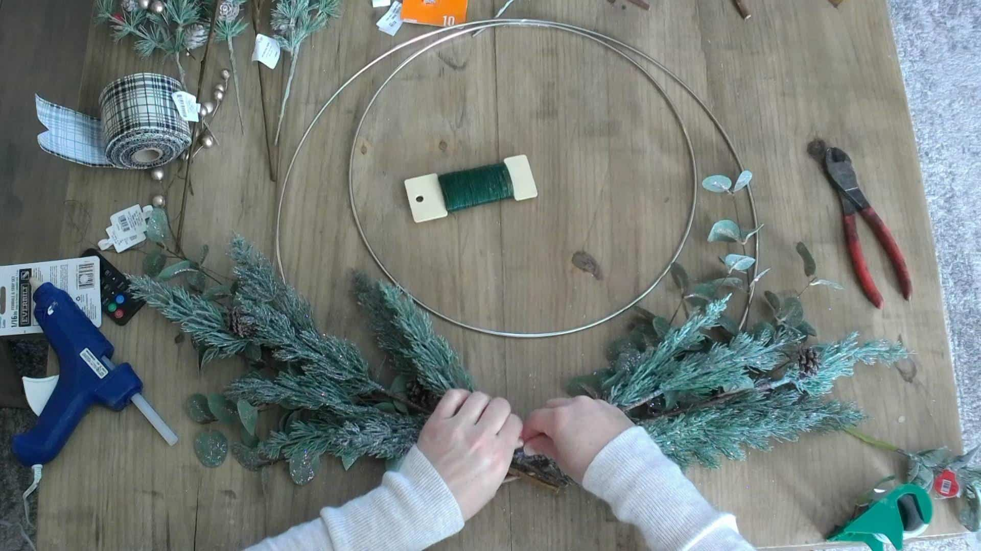 DIY winter wreath on metal hoop