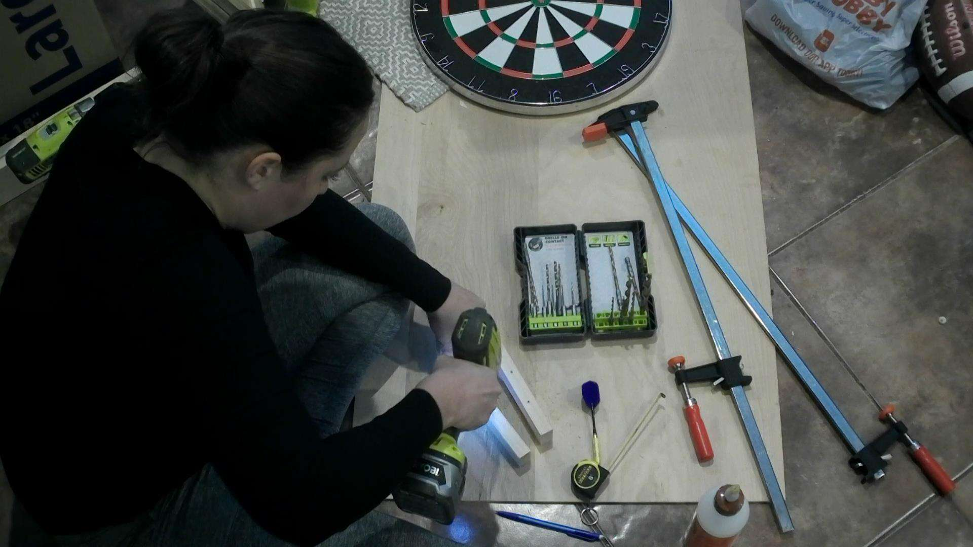 DIY Dartboard Cabinet - drilling thr holes for the darts