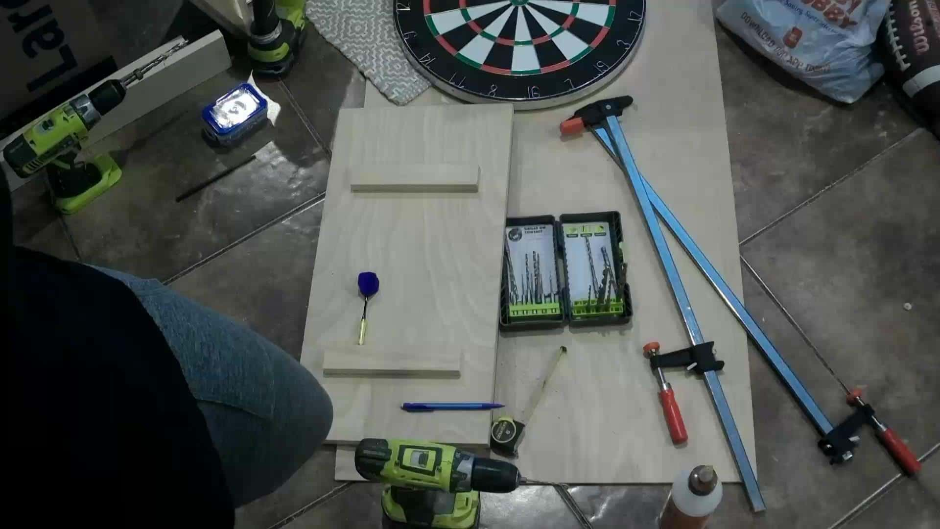 DIY Dartboard Cabinet - gluing the dart holders to the door
