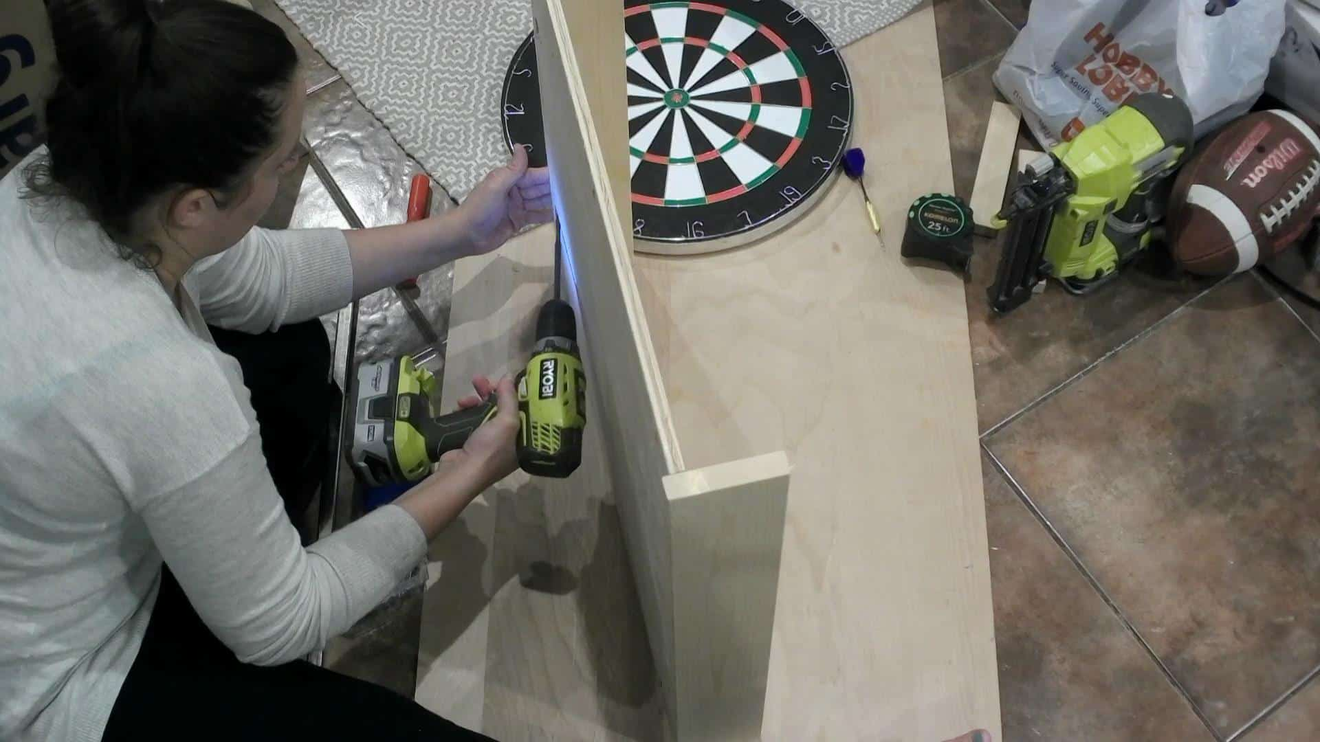 DIY Dartboard Cabinet - attaching the frame
