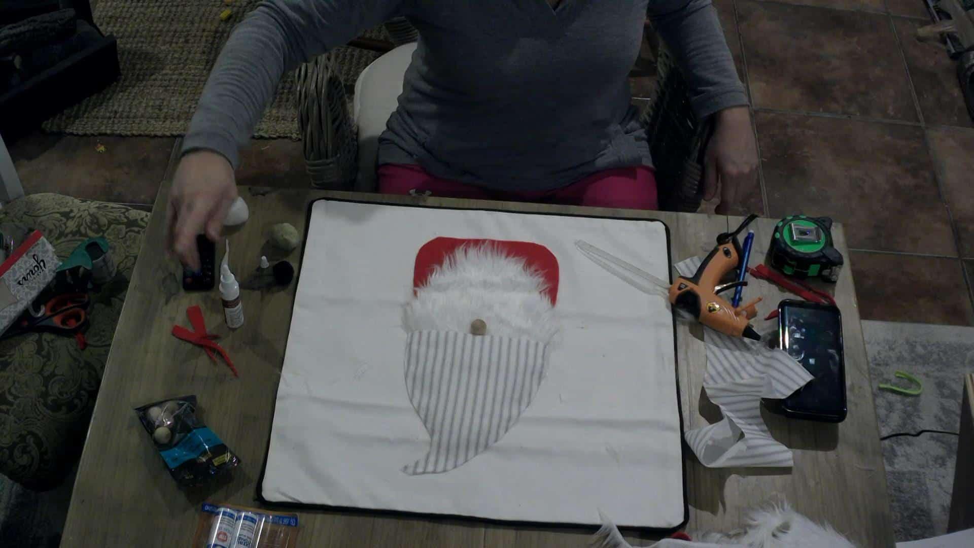 DIY Gnome Pillow Cover - adding the nose