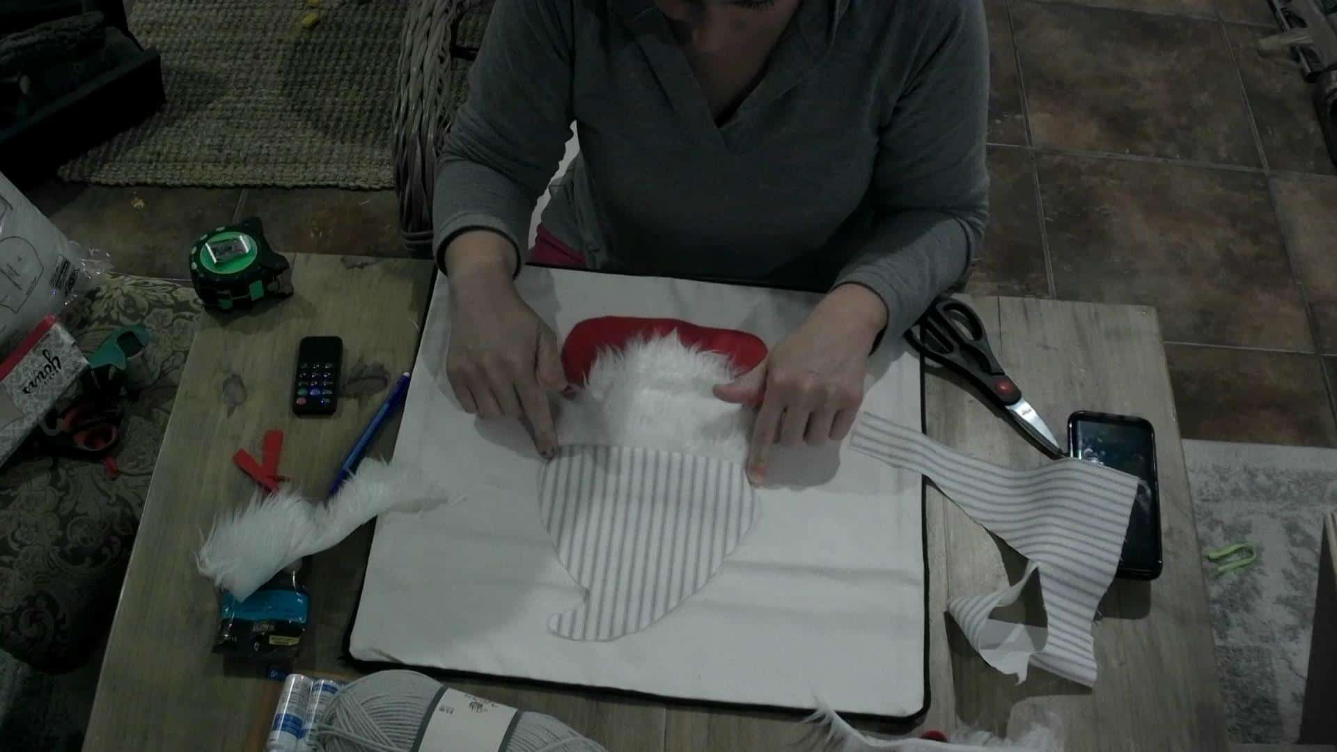 DIY Gnome Pillow fitting the hat in place!