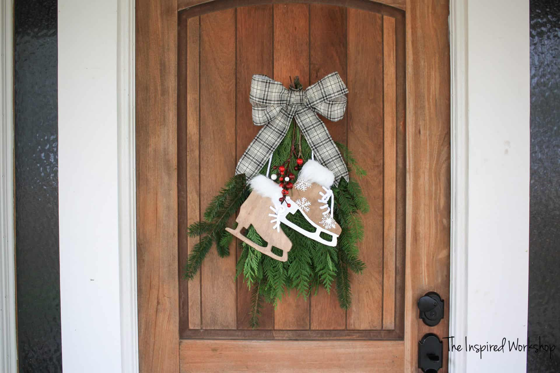 DIY Ice Skate Decor on front door wreath