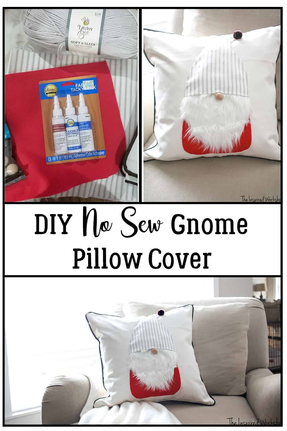 DIY Gnome Pillow Cover - No sew