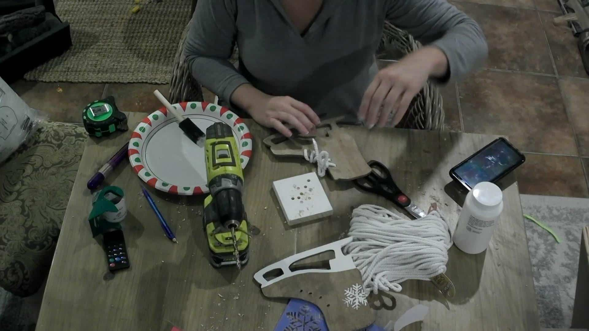Tying the laces on the DIY Ice Skate Decor