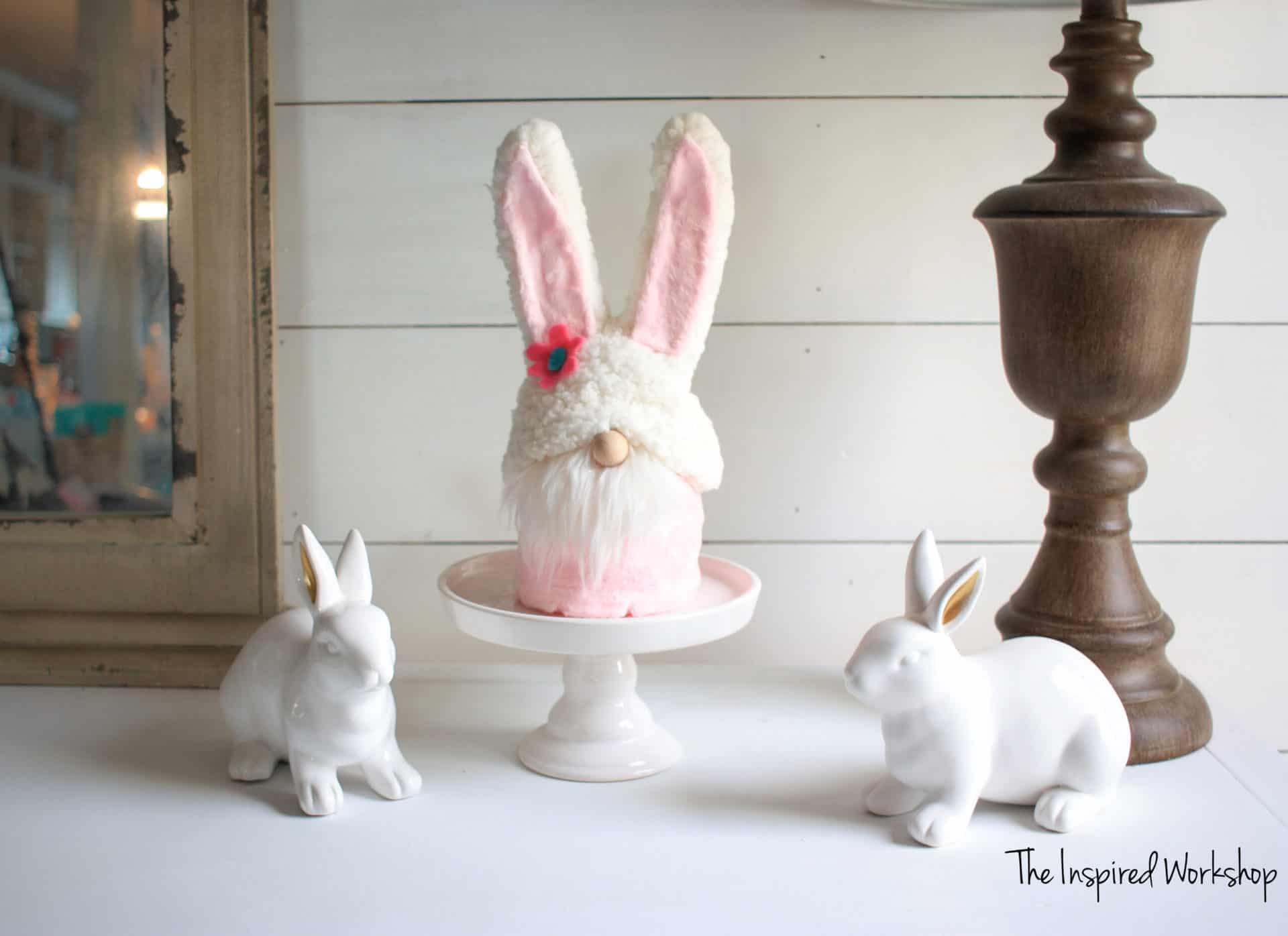 DIY Easter Gnome -gnome made to look like an easter bunny