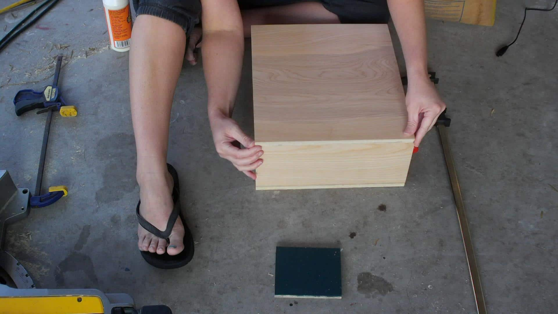 Gluing the record storage case