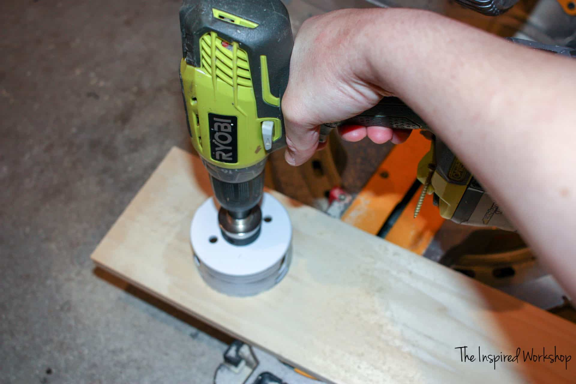DIY Wine Caddy - drilling the hole for the wine bottle