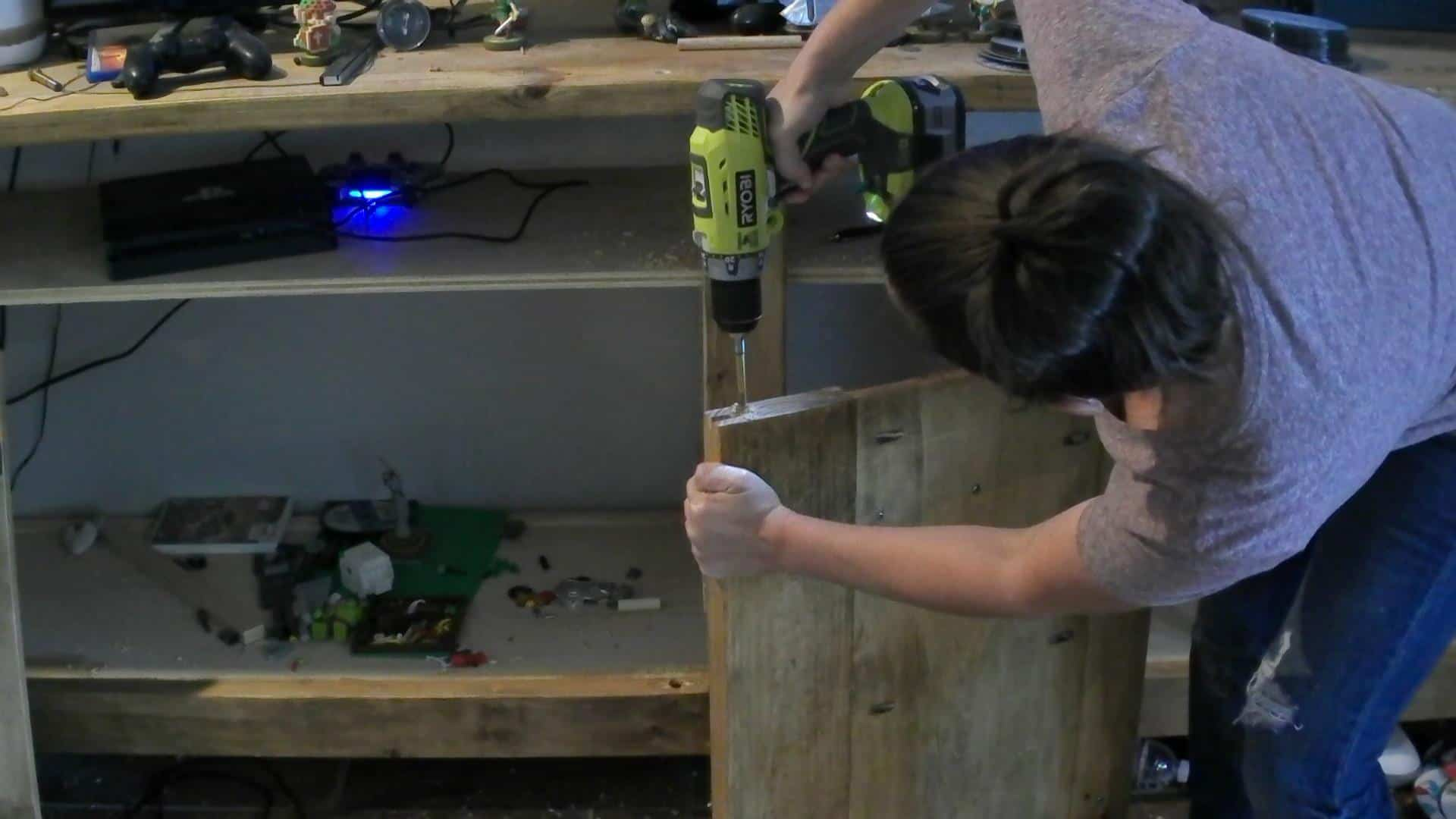 DIY Hinges - drilling the holes for the dowel rods