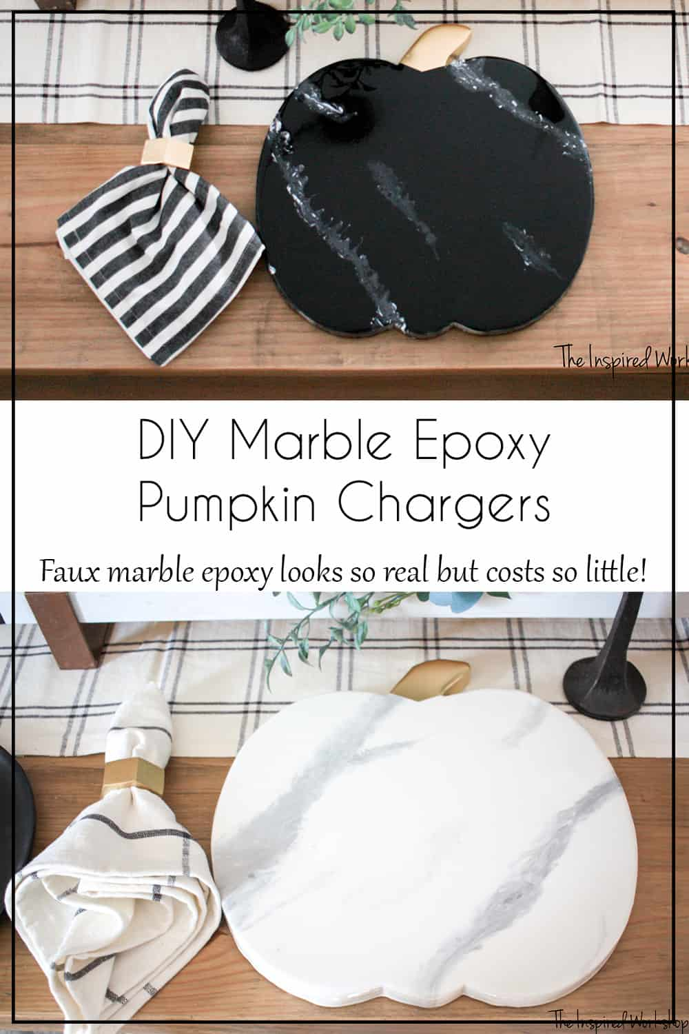 DIY Marble Epoxy Pumpkin Chargers