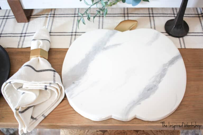 DIY Pumpkin Shaped Charger for Dinner Plates and table settings