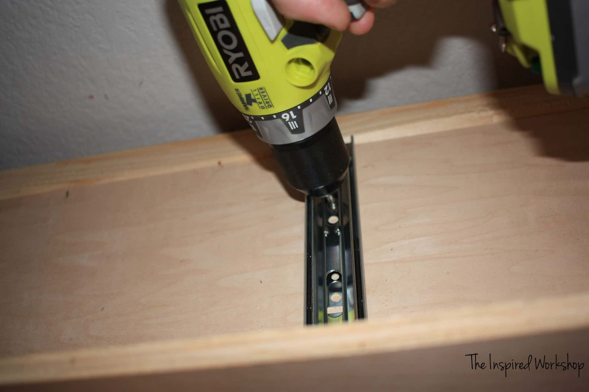 DIY TV Stand - setting the drawer in place