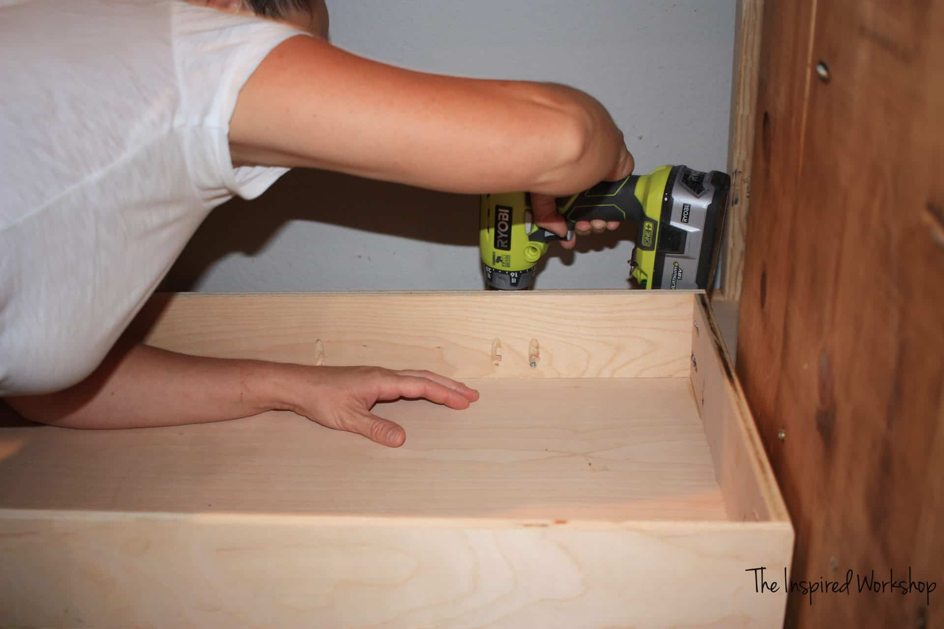 DIY TV Stand - Attaching drawer slides to the DVD drawers