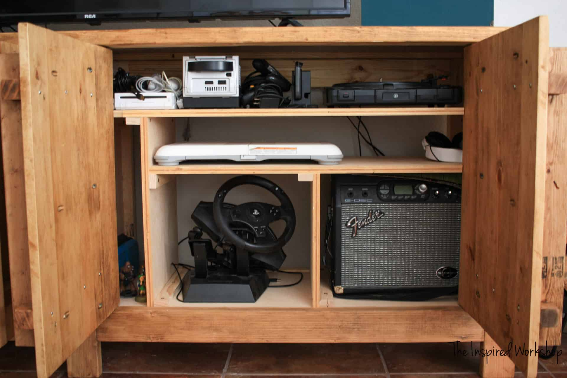 DIY TV Stand - Media Console with Gaming storage