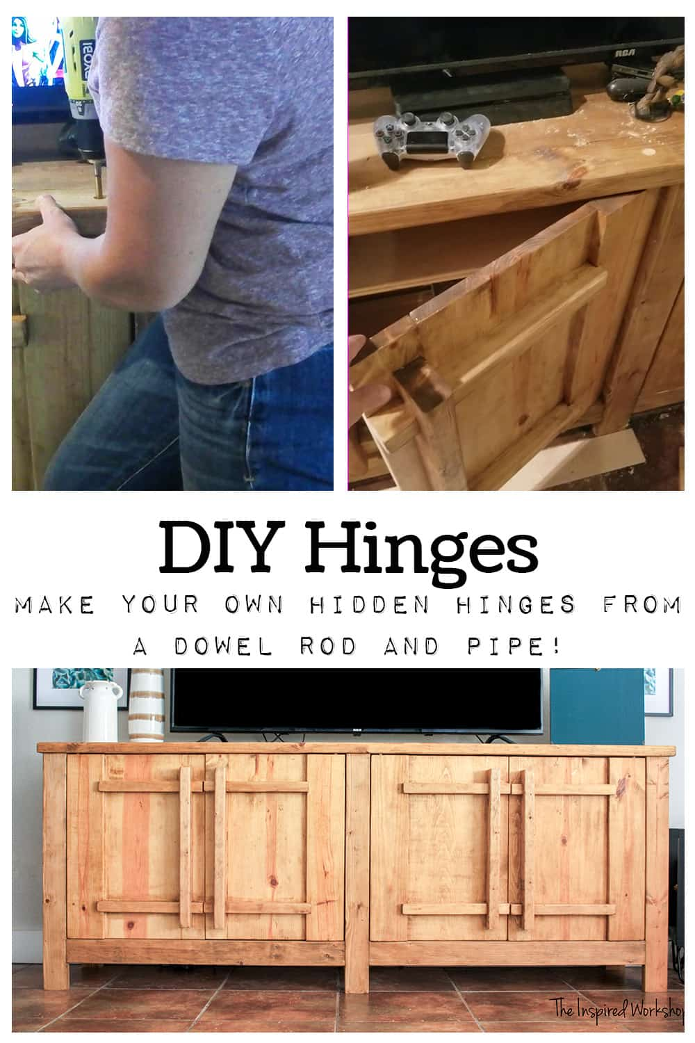 DIY Hinges - Make your own hinges from a dowel rod and pipe