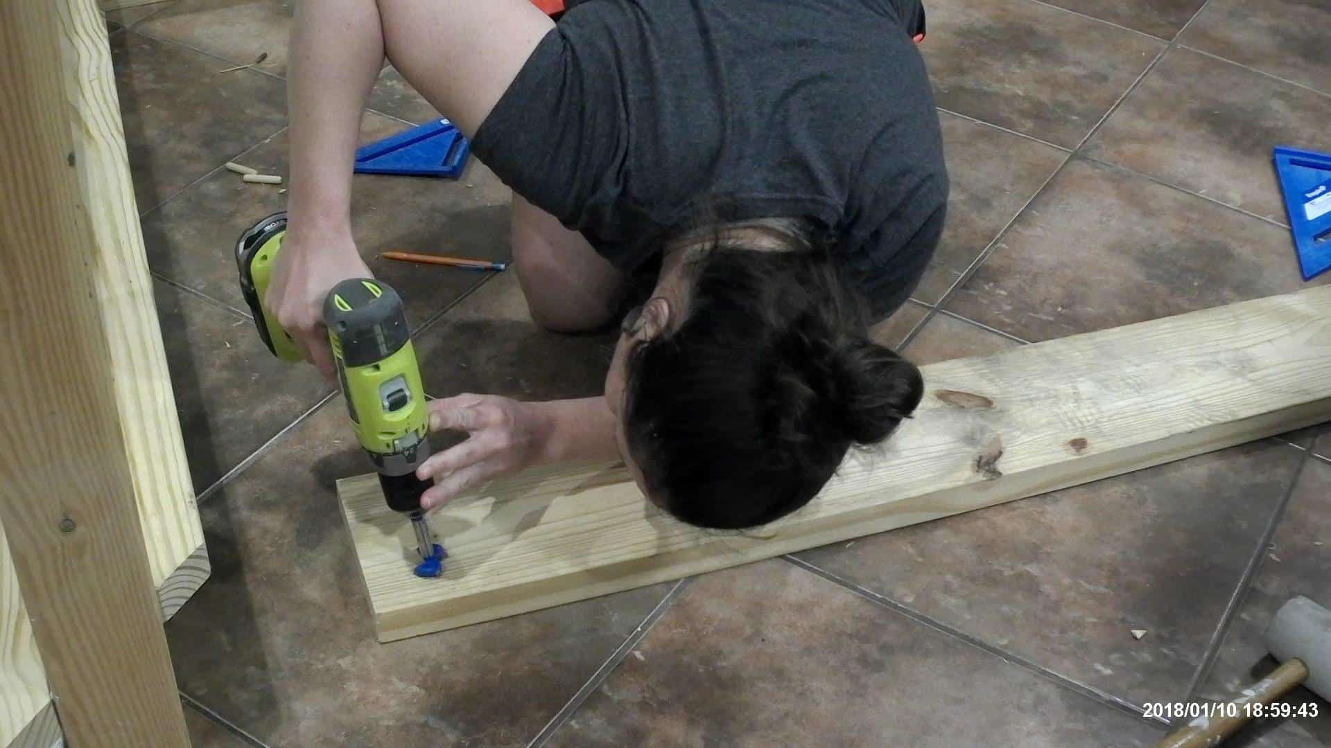 DIY Queen Bed Frame - drilling the holes for the bed rail hardware