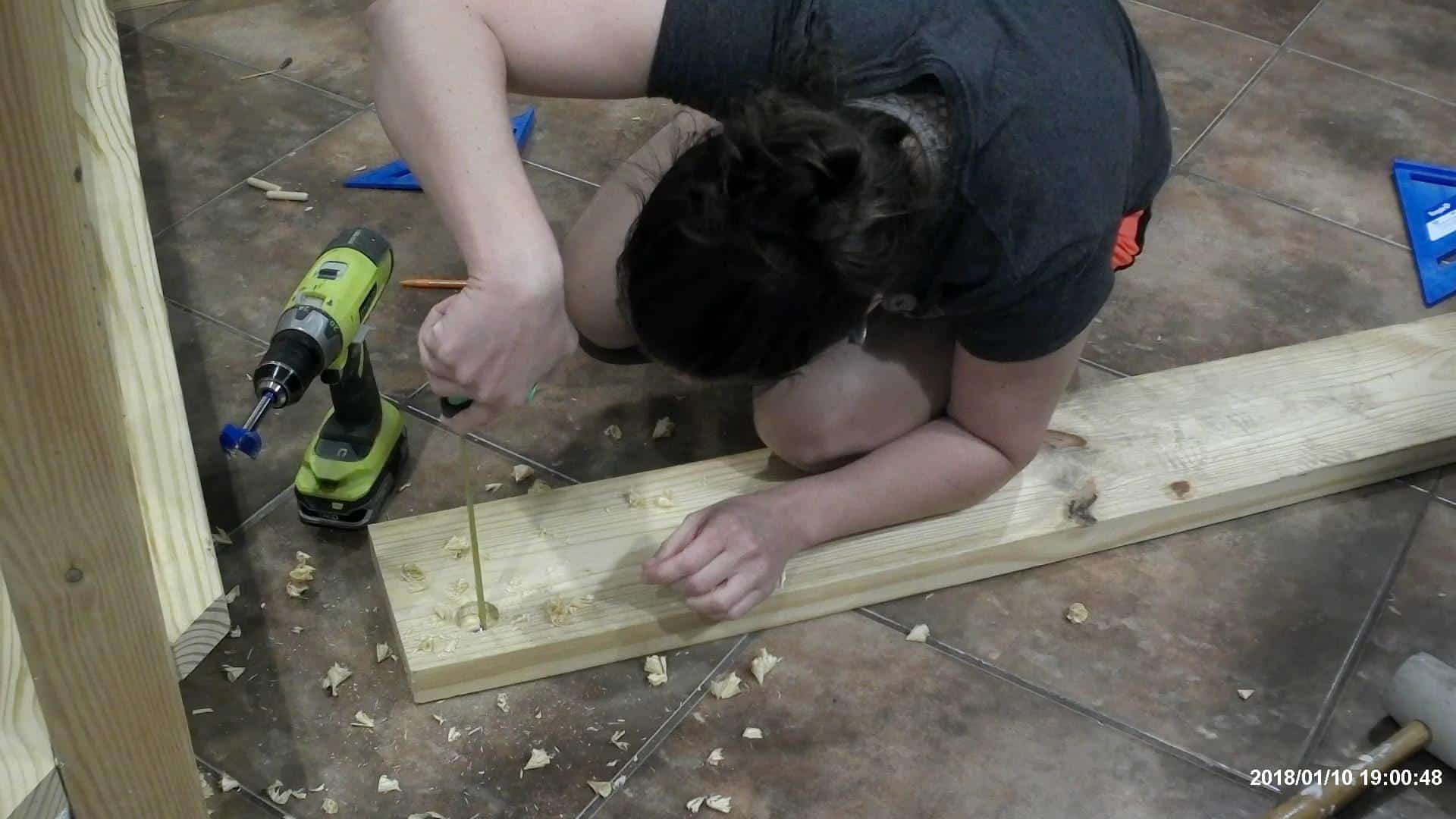 DIY Queen Bed Frame - measuring the depth of the holes