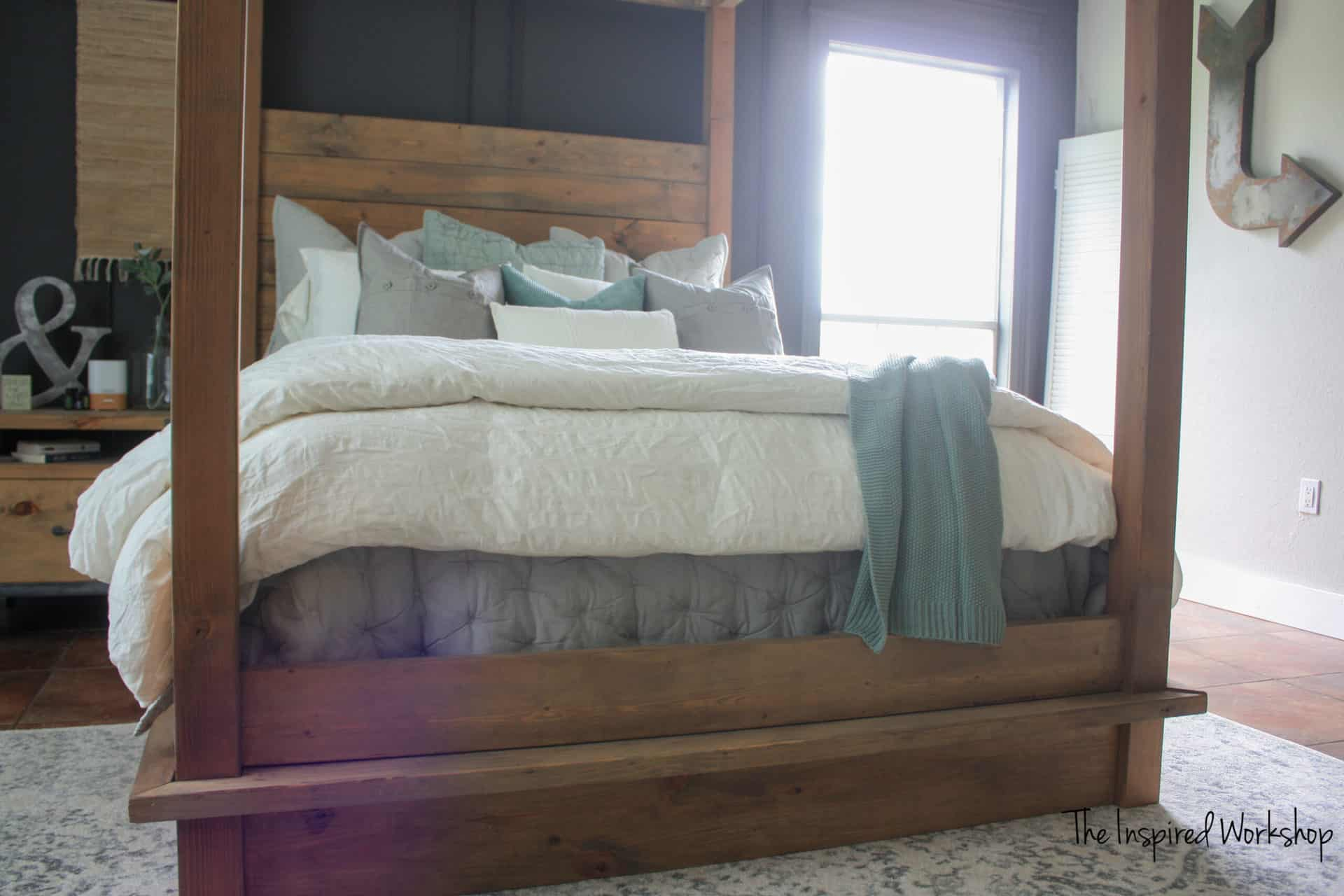 Different angle of the DIY Queen Bed Frame