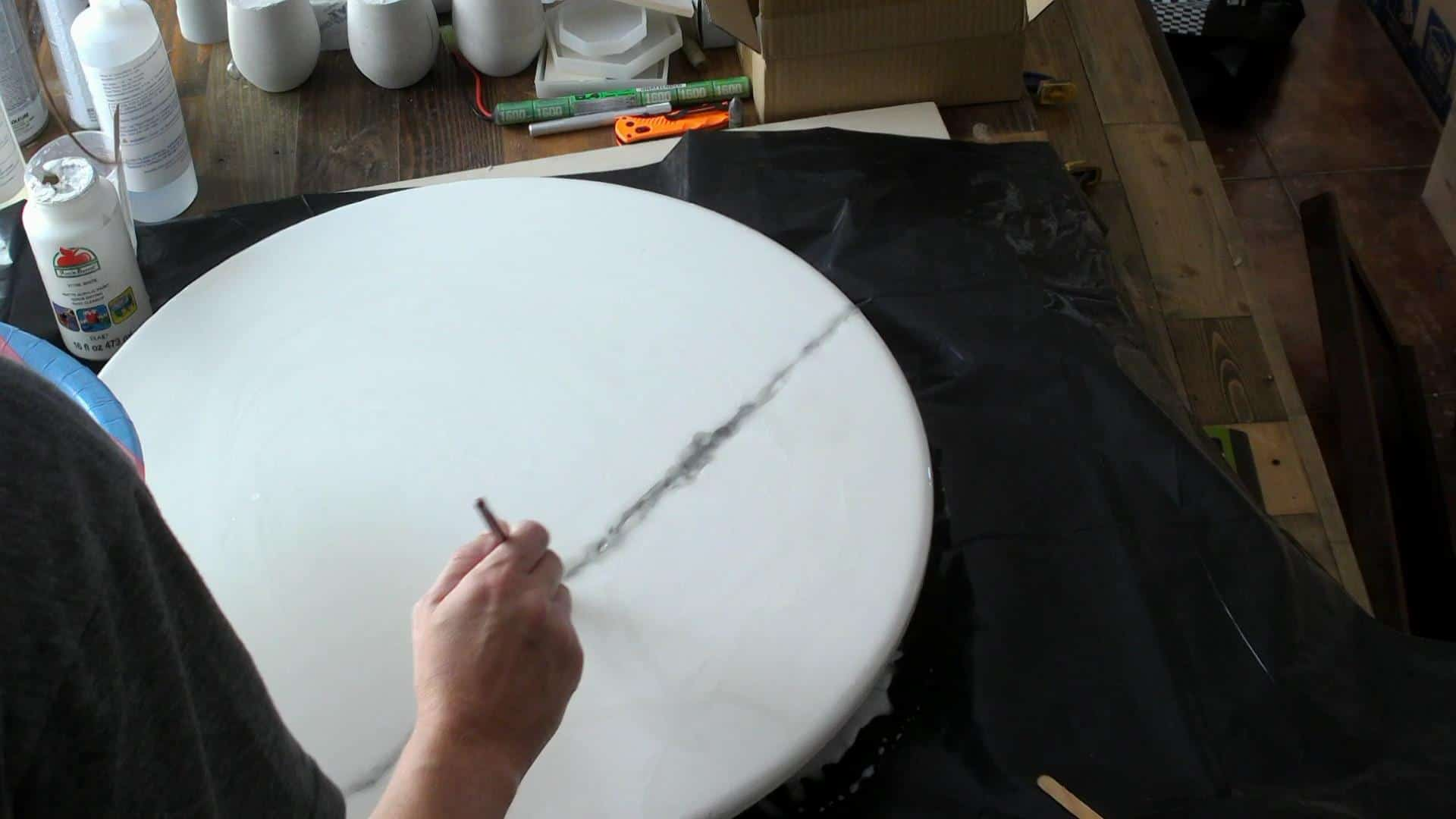 Making the veins in the epoxy marble table top