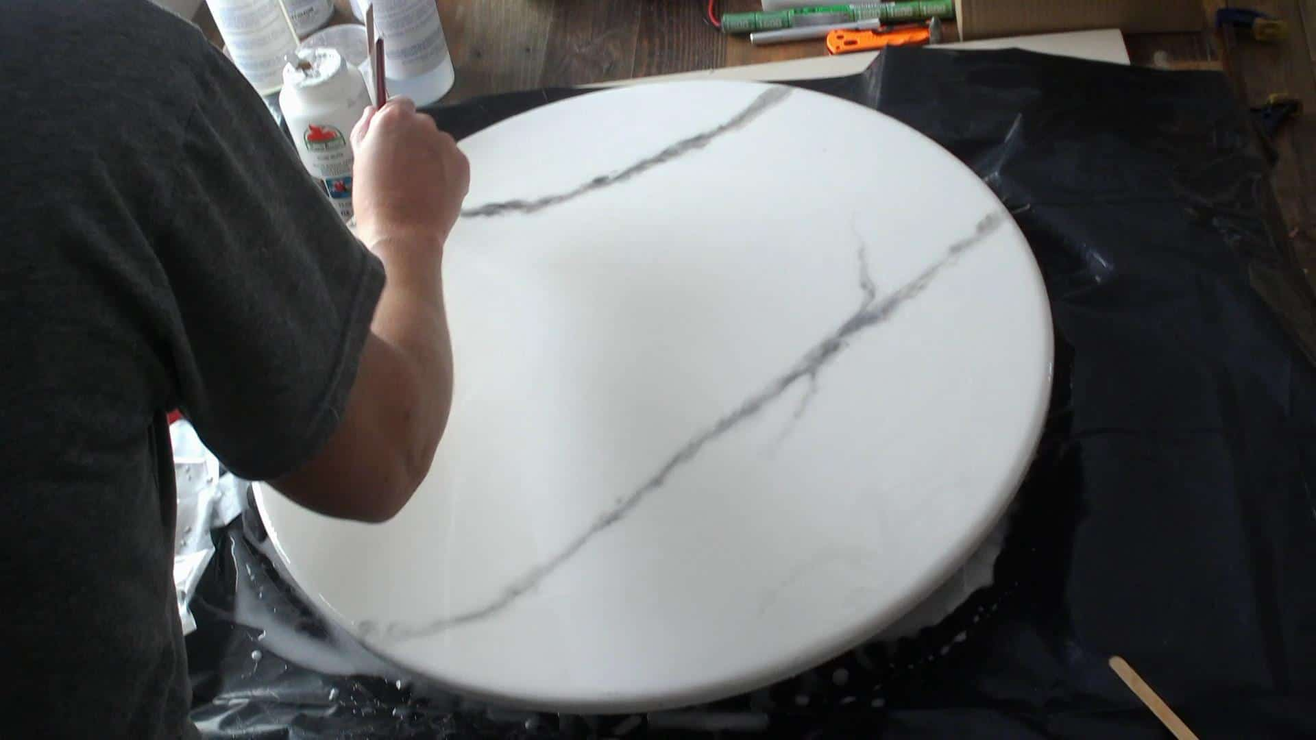 DIY Eposy Marble Table Top - How to pour the epoxy to make the fake marble top