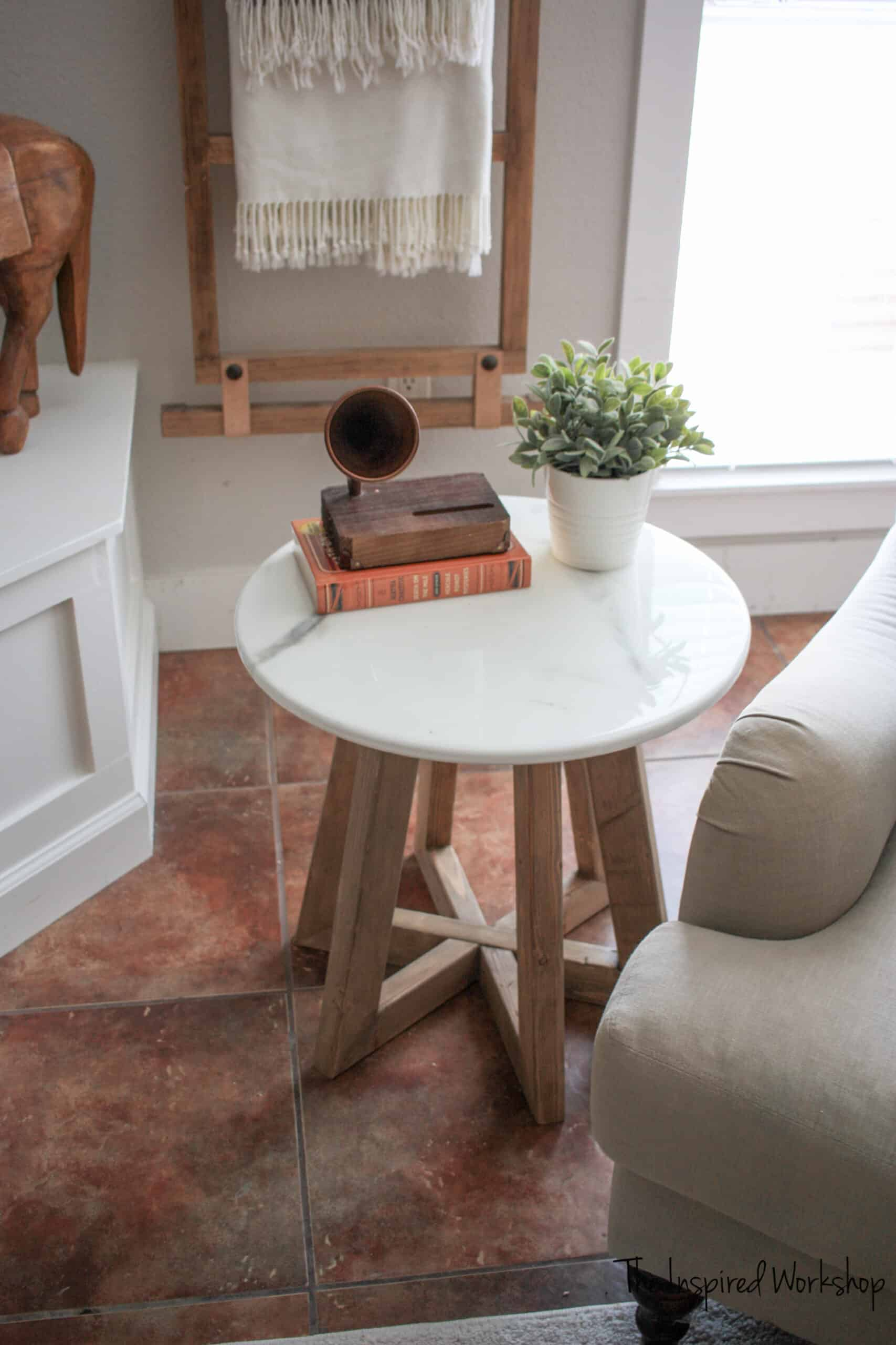 marble epoxy top round side table