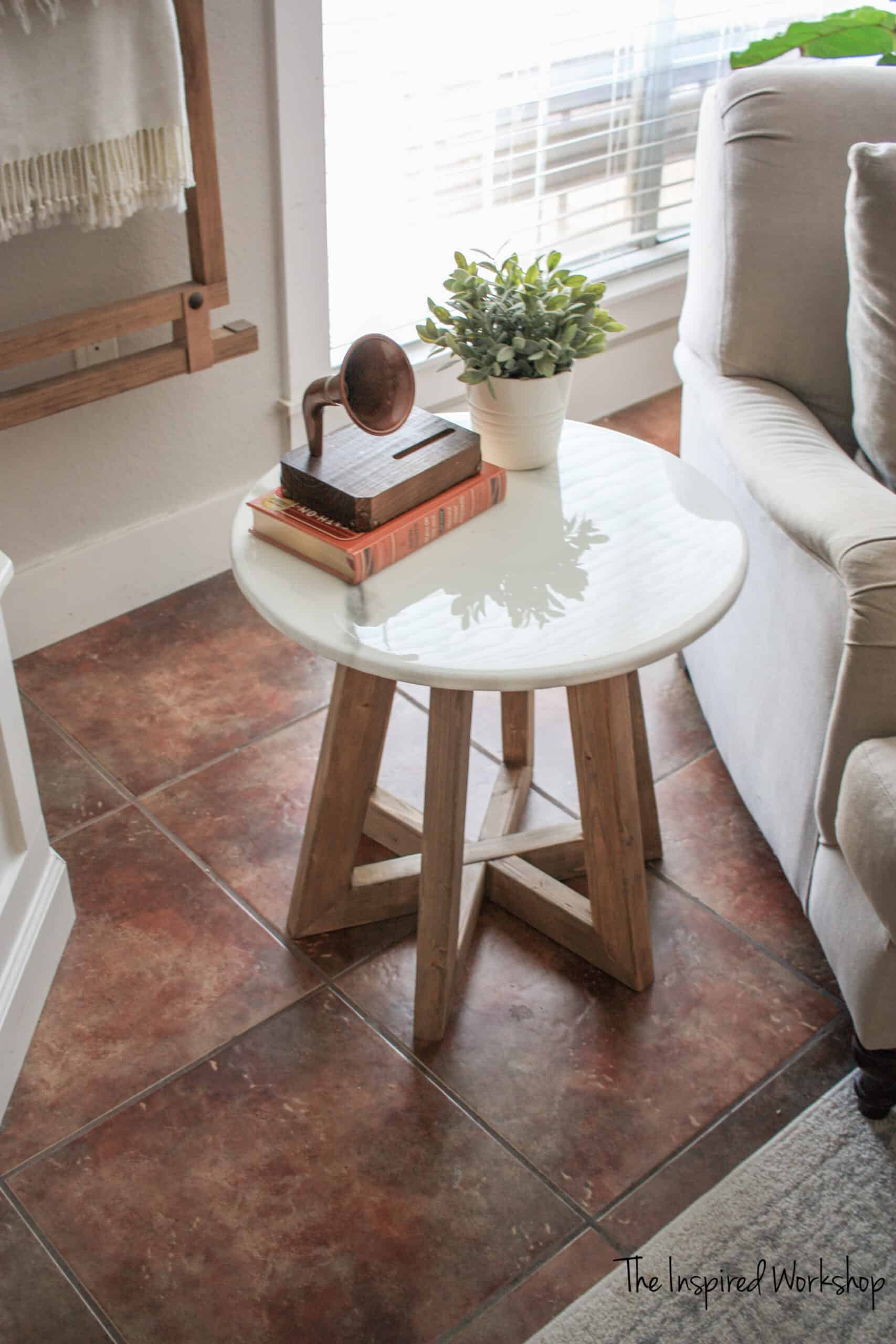 Marble Epoxy Top Round End Table