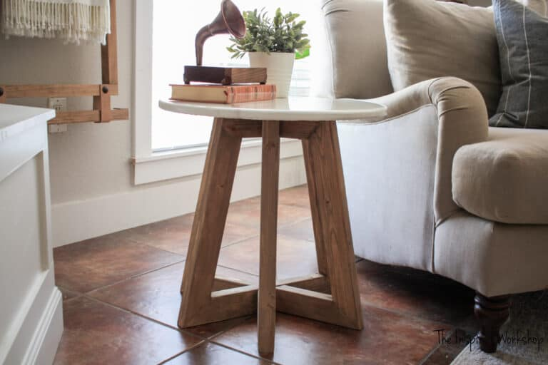 DIY Marble Epoxy Top Round Side Table