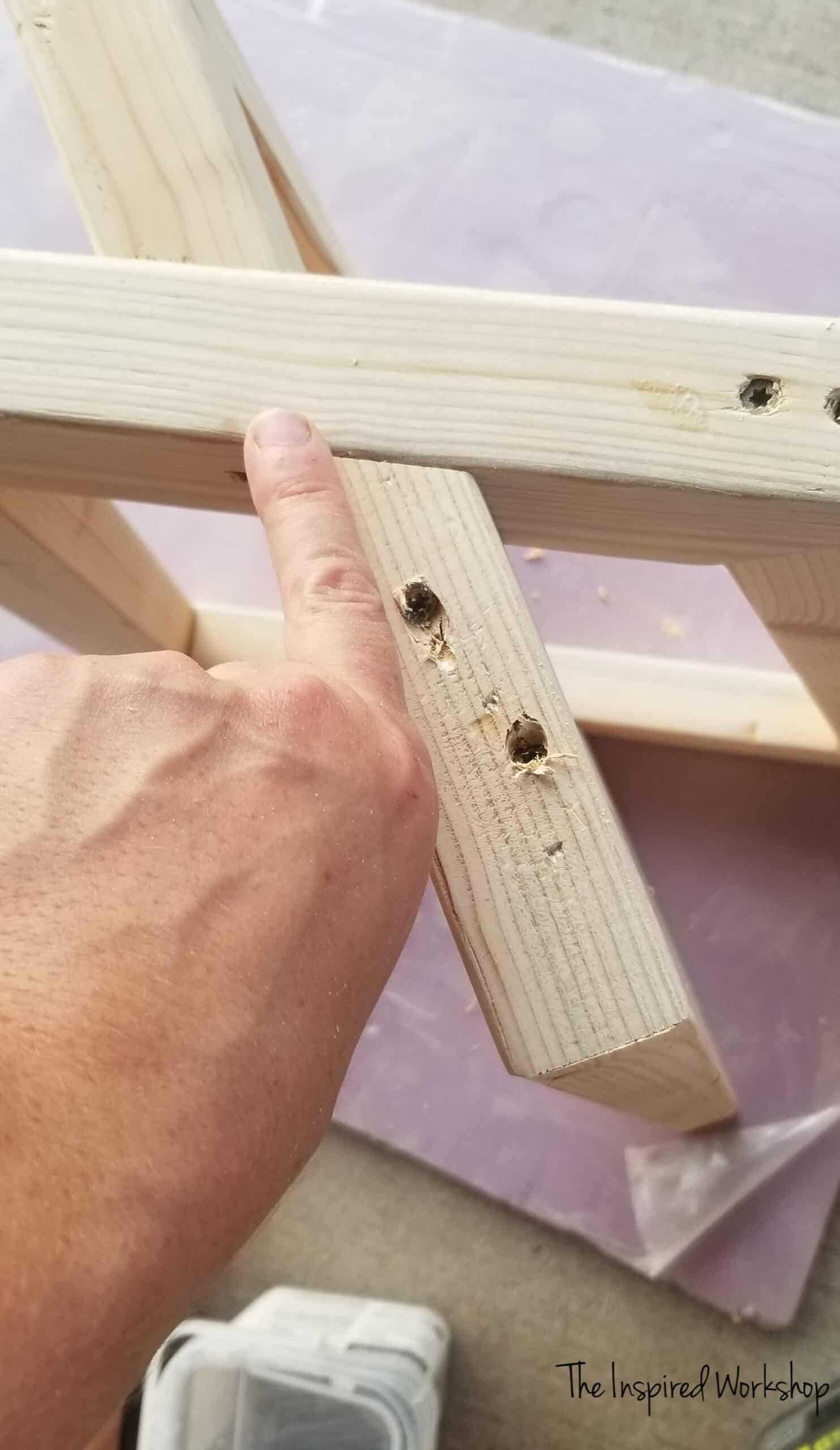 DIY Side Table - attaching the beveld legs to the main leg