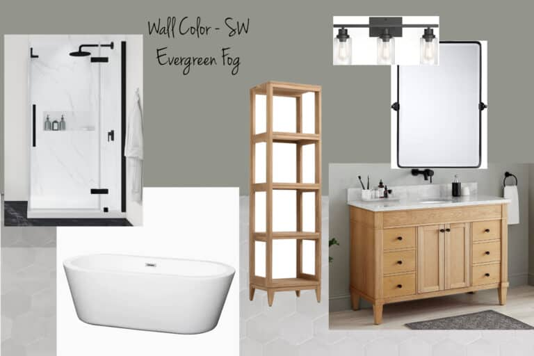 Mood Board for Bathroom Renovation for the Fall One Room Challenge